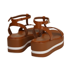 Sandali platform cuoio in eco-pelle, zeppa 5 cm , Primadonna, 132147513EPCUOI036, 004 preview