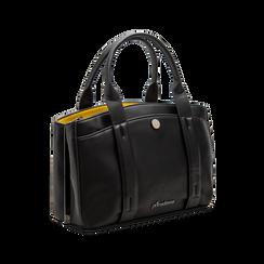 Mini bag nero-gialla in ecopelle, Saldi Borse, 122323219EPNEGIUNI, 003 preview