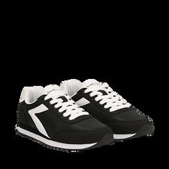 Sneakers nere in tessuto, design aerodinamico, Scarpe, 132619024TSNERO035, 002a