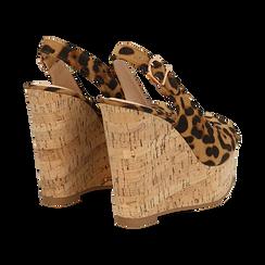 Sandali platform leopard in microfibra, zeppa in sughero 12 cm , Primadonna, 134900982MFLEOP, 004 preview