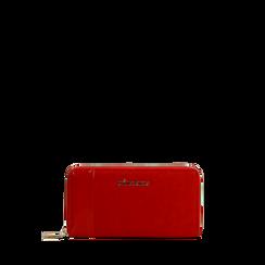 Portafoglio rosso in microfibra scamosciata con 17 vani, Saldi, 125709513MFROSSUNI, 001a