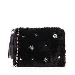 Pochette nera in eco-fur con gemme, Borse, 145101153FUNEROUNI, 001a
