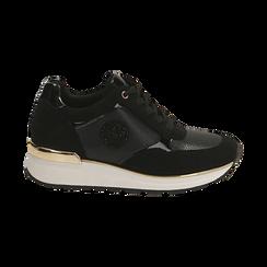 Sneakers en microfibra, cuña 4 cm , POMOCIONES, 162826712MFNERO037, 001 preview