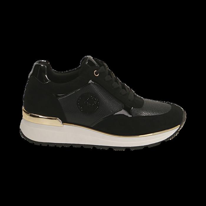Sneakers en microfibra, cuña 4 cm , POMOCIONES, 162826712MFNERO037