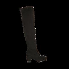 Overknee neri in microfibra, tacco 7,5 cm , Scarpe, 143021702MFNERO036, 001a