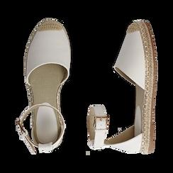 Espadrillas bianche in eco-pelle con cinturino, Primadonna, 154905188EPBIAN035, 003 preview