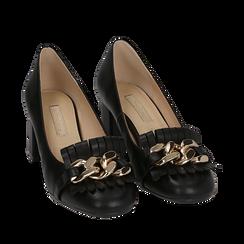 Mocassins noir en simili-cuir avec des franges et une maxi-chaîne, talon de 6 cm, Chaussures, 152186582EPNERO035, 002a