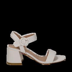 Sandali bianchi in eco-pelle, tacco trapezio 6 cm , Scarpe, 132707569EPBIAN036, 001a