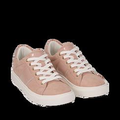 Sneakers de microfibra en color nude, Zapatos, 152619072MFNUDE035, 002a
