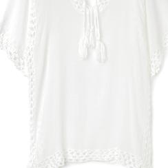 Caftano corto bianco con lavorazione macramè, Abbigliamento, 13A345078TSBIANUNI, 002a