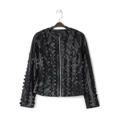 Giacca nera in eco-pelle e rete con lavorazione 3D, Primadonna, 136501080EPNERO, 001 preview