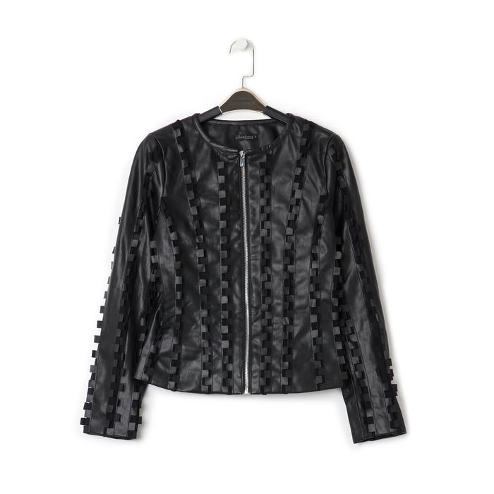 Giacca nera in eco-pelle e rete con lavorazione 3D, Primadonna, 136501080EPNERO