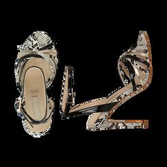 Sandali multilistino neri in eco-pelle effetto snake skin, tacco 11 cm, Sandali con tacco, 132120686PTNERO035, 003 preview