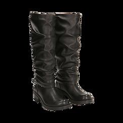 Stivali neri in eco-pelle, tacco 4,5 cm , 140585091EPNERO035, 002a