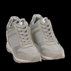 Sneakers oro argento glitter con zeppa, Scarpe, 152821522GLARGE035, 002a
