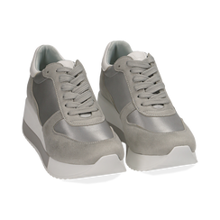 Dad Shoes en satin gris, Chaussures, 152821511RSGRIG036, 002 preview