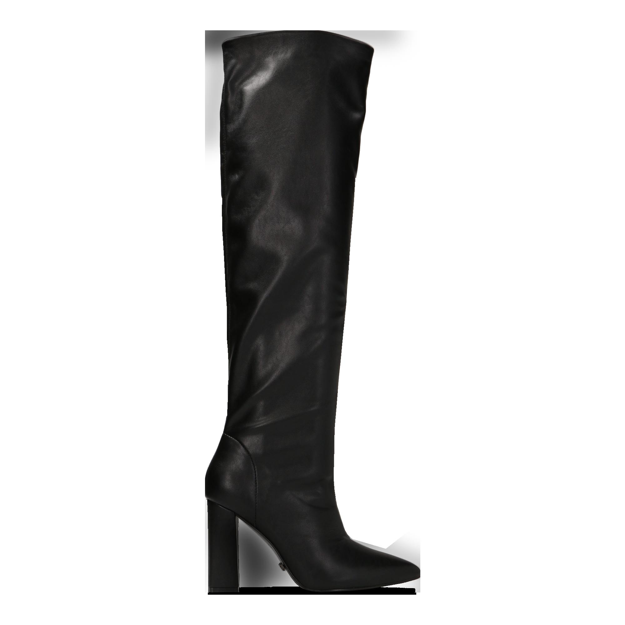Stivali neri con gambale dritto, tacco quadrato 9,5 cm, Scarpe,  122166717EPNERO037