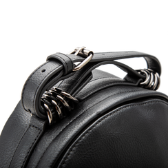 Zaino nero in ecopelle, dettagli biker, Borse, 122404080EPNEROUNI, 004 preview
