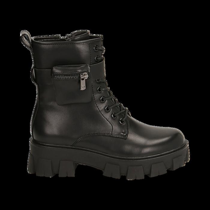 Botas militares en color negro, Primadonna, 160611112EPNERO035