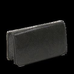 Pochette nera in eco-pelle snake print, Primadonna, 145122779PTNEROUNI, 002a