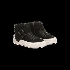 Sneakers nere con risvolto in eco-shearling, 124110063MFNERO035, 002