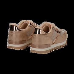 Sneakers oro in tessuto laminato e dettagli mirror, Scarpe, 130100107LMOROG036, 004 preview