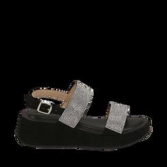 CALZATURA ZEPPA MICROFIBRA PIETRE NERO, Zapatos, 154991102MPNERO036, 001a