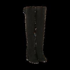 Overnkee neri in microfibra, tacco 10,50 cm , Stivali, 142186948MFNERO035, 002a