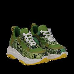 Dad shoes verdi in vera pelle, suola 5 cm, Scarpe, 13A600999PUVERD035, 002a