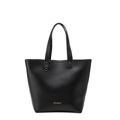Borsa shopper nera in ecopelle, Borse, 122320678EPNEROUNI, 001a