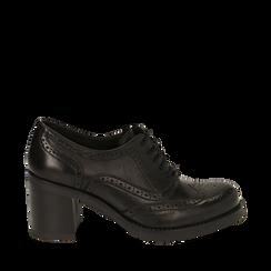 Chaussures à lacets noires en cuir, talon 7,50 cm , Primadonna, 167734407PENERO036, 001a