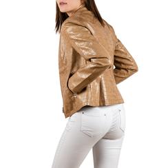 Biker jacket beige stampa cocco, Abbigliamento, 156509104CCBEIG3XL, 002a
