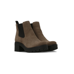 Chelsea Boots taupe in vero camoscio, tacco medio 5,5 cm, 127723509CMTAUP036, 002