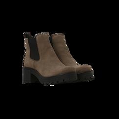 Chelsea Boots taupe in vero camoscio, tacco medio 5,5 cm, Scarpe, 127723509CMTAUP, 002 preview