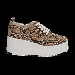 Sneakers beige in eco-pelle effetto snake print, zeppa 6 cm, Scarpe, 132008353PTBEIG036, 001 preview