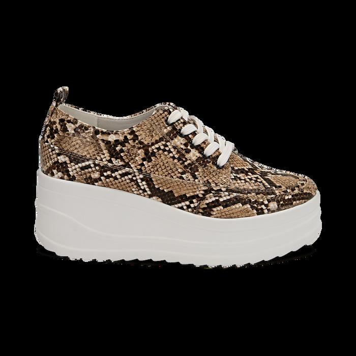 Sneakers beige in eco-pelle effetto snake print, zeppa 6 cm, Scarpe, 132008353PTBEIG036