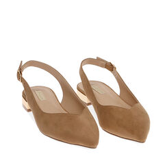 Slingback plana de microfibra en camel,  Zapatos, 174987411MFCAME036, 002a