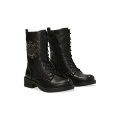 Anfibi neri con ricamo di perline, tacco basso, Scarpe, 12A709121EPNERO035, 002