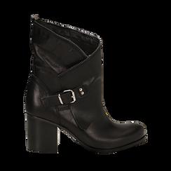 Ankle boots neri in vera pelle, tacco 9 , Scarpe, 135600421PENERO036, 001a