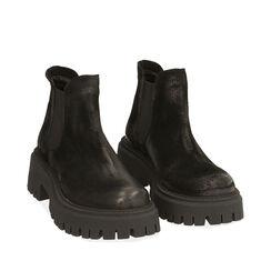 Chelsea boots neri in camoscio, tacco 5,5 cm , Primadonna, 187204438CMNERO035, 002a
