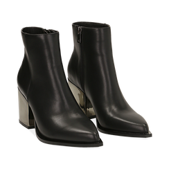 Ankle boots neri in eco-pelle, tacco metal 8 cm , Stivaletti, 142182641EPNERO036, 002 preview