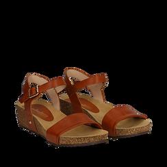 Sandali platform cuoio in eco-pelle, zeppa in sughero 4 cm , Saldi Estivi, 132161102EPCUOI035, 002a