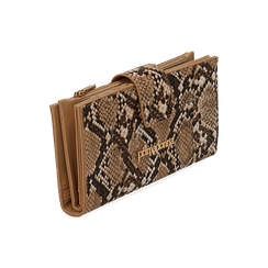 Monedero en eco-piel con estampado de serpiente color beige, Bolsos, 155122158PTBEIGUNI, 002 preview