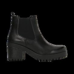 Chelsea Boots neri con suola alta, tacco 3 cm, Primadonna, 122806571EPNERO, 001 preview