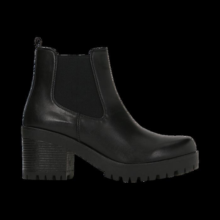 Chelsea Boots neri con suola alta, tacco 3 cm, Primadonna, 122806571EPNERO