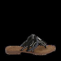 Ciabatte infradito nere in raso , Chaussures, 15K808010RSNERO035, 001a