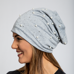 Berretto invernale grigio in tessuto con perle, Saldi Abbigliamento, 12B480739TSGRIGUNI, 002