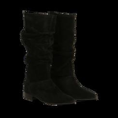 Stivali Neri in vero camoscio con gambale morbido, tacco 2,5 cm, Primadonna, 128900900CMNERO036, 002a