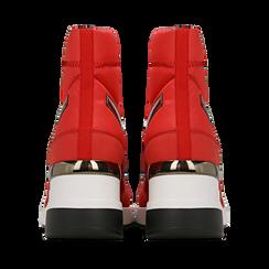 Sneakers a calza rosse in tessuto tecnico, zeppa 6 cm , Scarpe, 14A718203TSROSS036, 003 preview