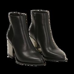Ankle boots neri in eco-pelle, tacco metal 8 cm , Stivaletti, 142182641EPNERO036, 002a